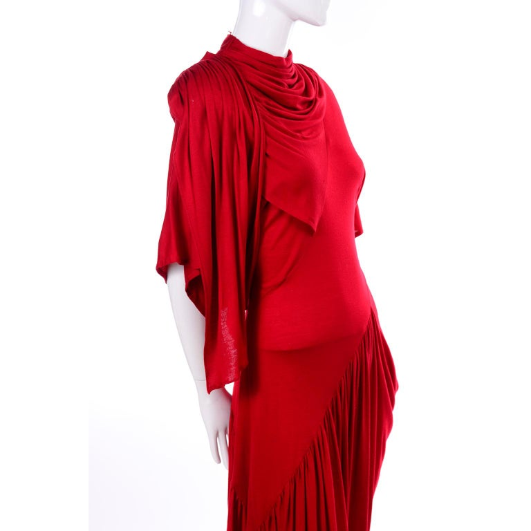 Women's 1980s Vintage Dress in Rich Red Jersey With Dramatic Draping For Sale