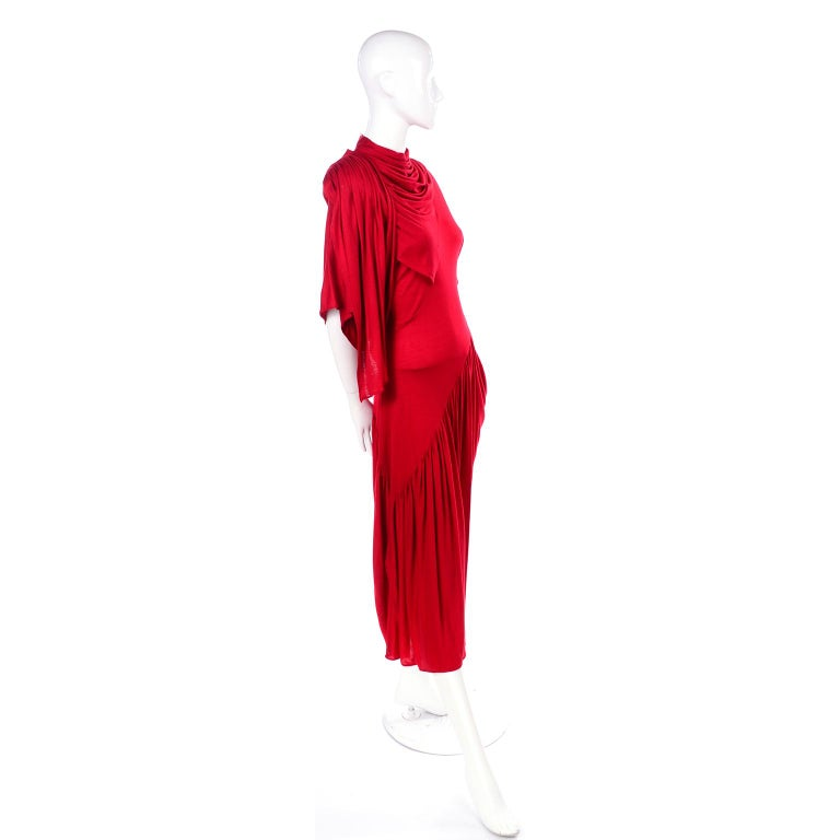 1980s Vintage Dress in Rich Red Jersey With Dramatic Draping For Sale 1