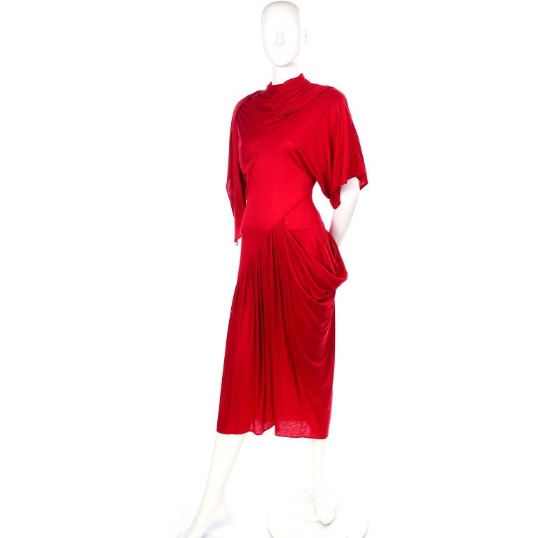 1980s Vintage Dress in Rich Red Jersey With Dramatic Draping For Sale 2
