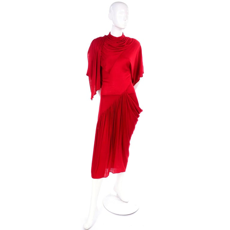 1980s Vintage Dress in Rich Red Jersey With Dramatic Draping For Sale 3