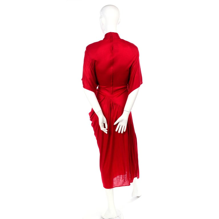 1980s Vintage Dress in Rich Red Jersey With Dramatic Draping For Sale 5