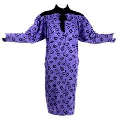 1980s Vintage Emanuel Ungaro Parallele Silk Dress in Purple & Black Lips Print