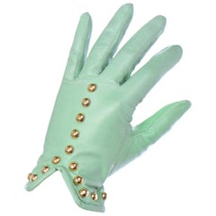 1980s Vintage Escada Mint Green Leather Gloves With Gold Studs