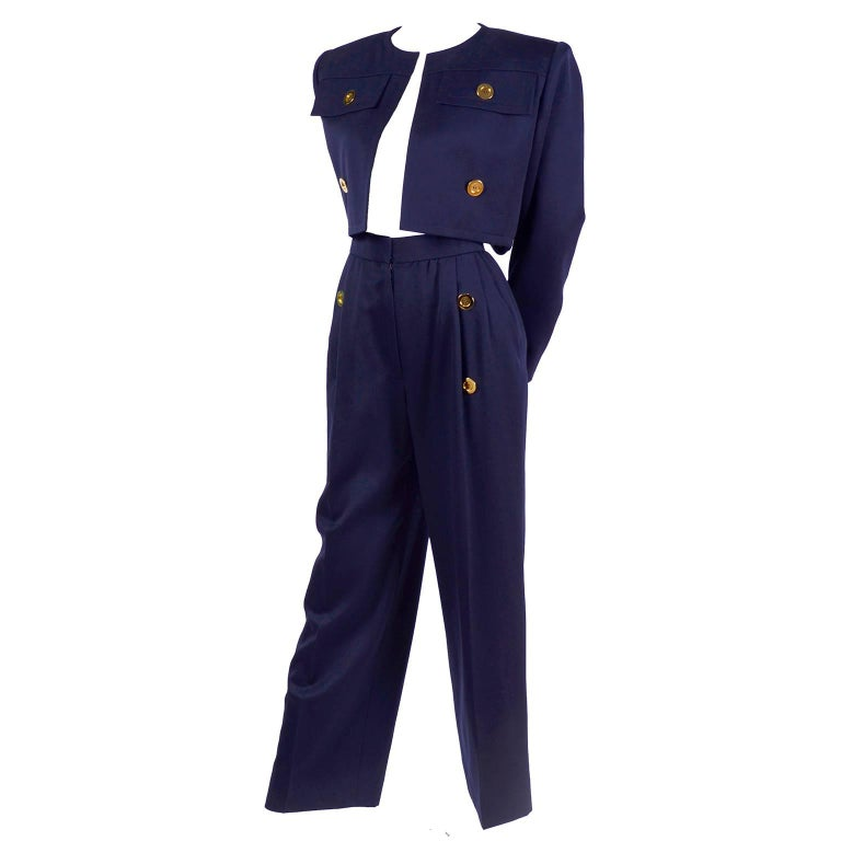 Givenchy Vintage Navy Blue Cropped Jacket and High Waist Pantsuit, 1980s