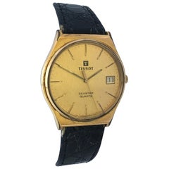 1980s Vintage Gold-Plated and Steel Back Tissot Seastar Quartz