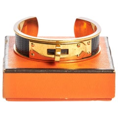1980's Vintage Hermès Black Vintage Lizard Cuff in Box