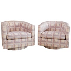1980s Vintage Kessler Pink Purple Upholstered Swivel Club Chair, a Pair