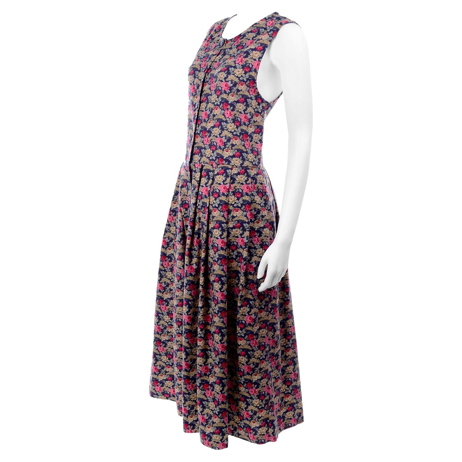 1980s Vintage Laura Ashley Navy Blue Cotton Dress W/ Pink & Red Flowers