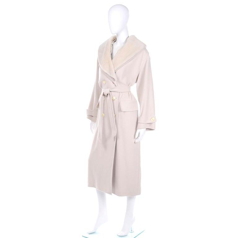 Beige 1980s Vintage Louis Feraud Cream Cashmere Wool Angora Coat with Belt For Sale