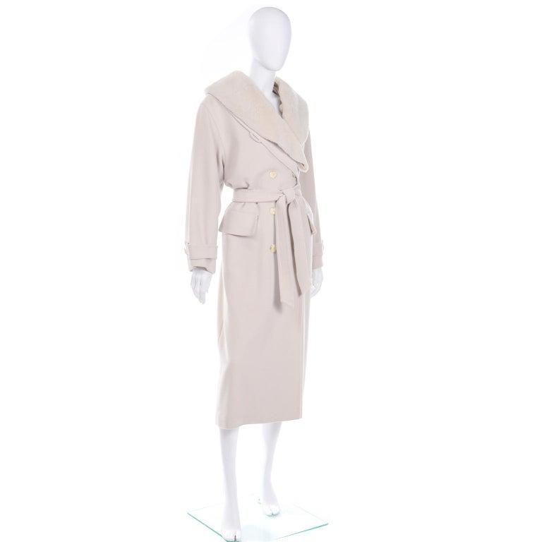 Women's 1980s Vintage Louis Feraud Cream Cashmere Wool Angora Coat with Belt For Sale