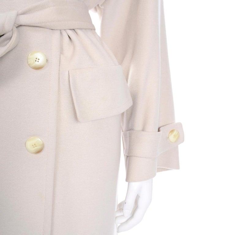 1980s Vintage Louis Feraud Cream Cashmere Wool Angora Coat with Belt For Sale 1