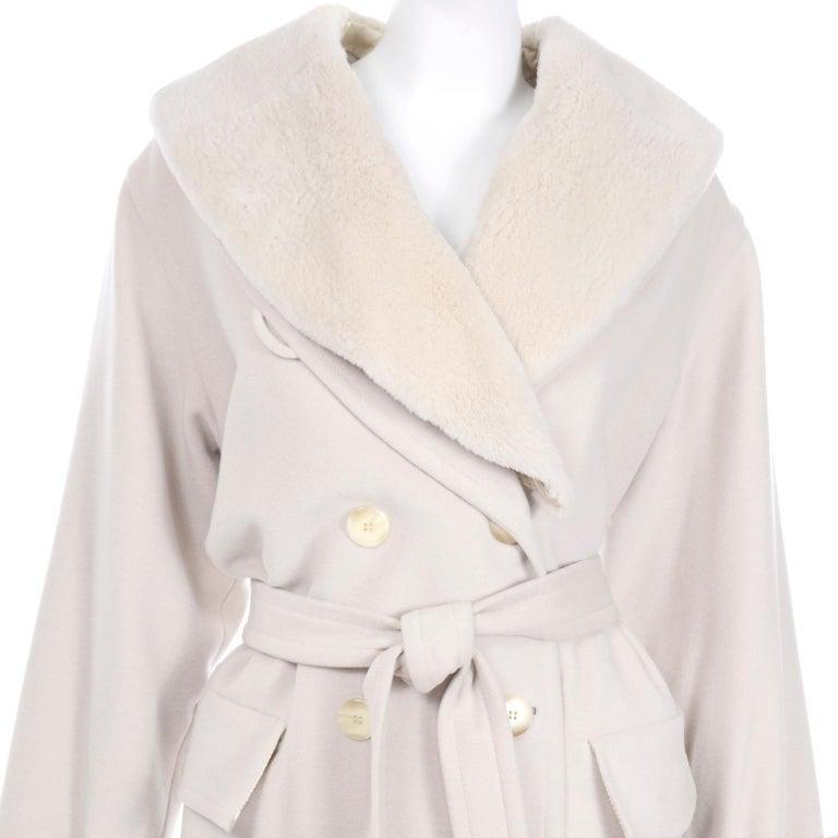1980s Vintage Louis Feraud Cream Cashmere Wool Angora Coat with Belt For Sale 2