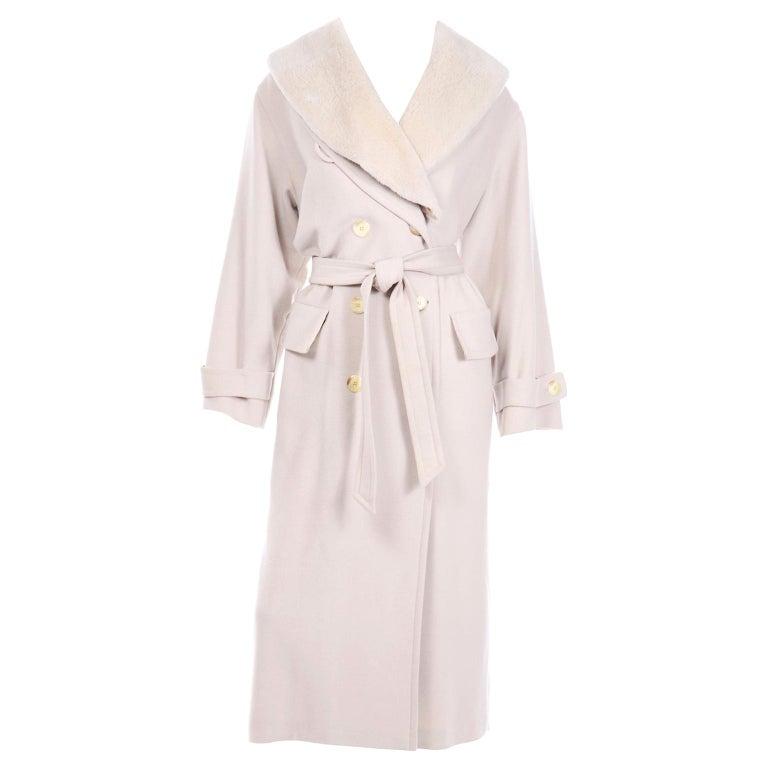 1980s Vintage Louis Feraud Cream Cashmere Wool Angora Coat with Belt For Sale