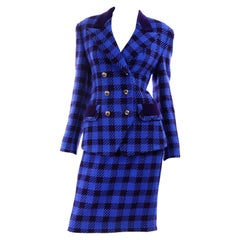 1980s Vintage Margaretha Ley Escada Blue & Purple Plaid Skirt & Blazer Suit 38