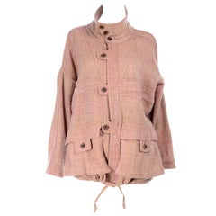 1980s Vintage Muted Pink Wool Handwoven Bolivian Jacket