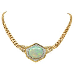 1980s Vintage Opal Diamond 18 Karat Two-Tone Gold Statement Necklace