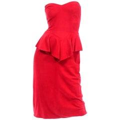 1980s Vintage Red Vakko Suede Peplum Strapless Dress