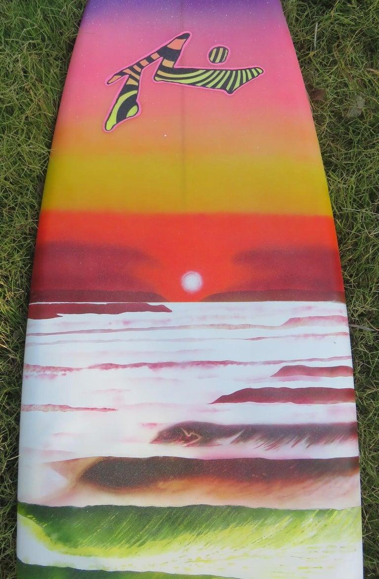 "1980s Vintage Rusty Preisendorfer Surfboard ""Surf on Planet X"" by Stephen Cruz In Good Condition In Haleiwa, HI"