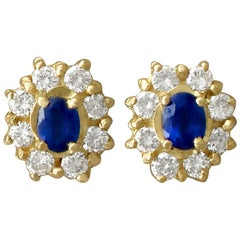 1980s Vintage Sapphire and Diamond, Yellow Gold Cluster Earrings