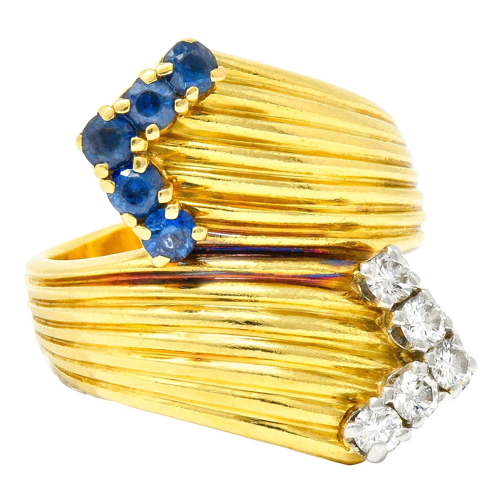 1980's Vintage Sapphire Diamond 18 Karat Gold Bypass Ring