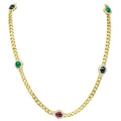 1980s Vintage Sapphire Emerald Ruby Diamond 18 Karat Gold Station Necklace