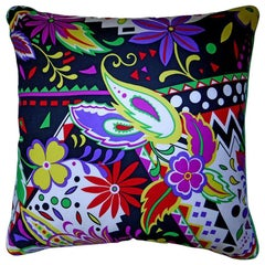 1980s Vintage Silk Cushion 'Zinnia Fronde' Bespoke Made Pillow Made in London