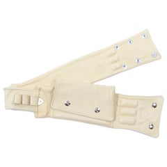 1980s Vintage Soft Cream Lambskin Leather Wallet Utility Belt