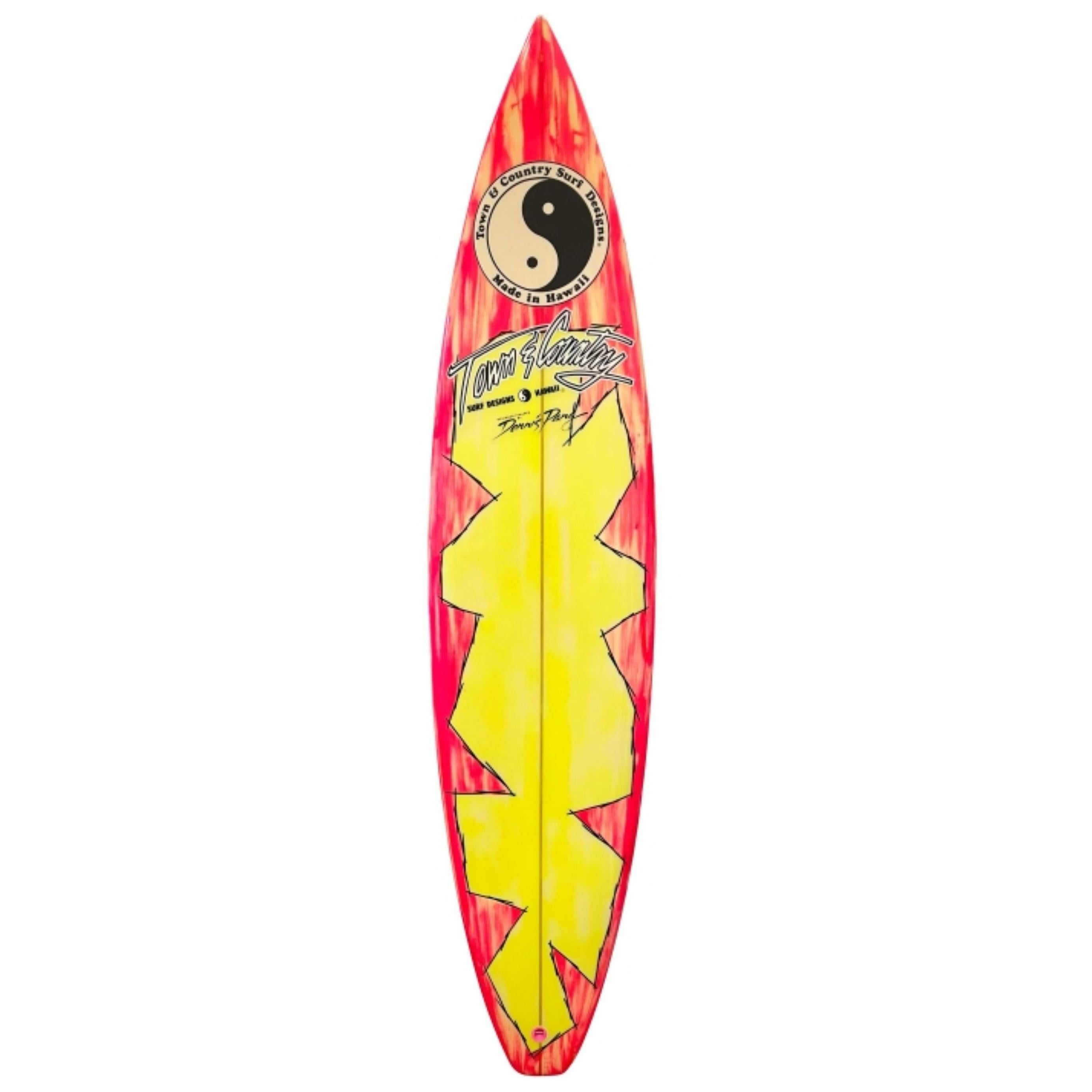 1980s Vintage Town & Country Surfboard Shaped by Dennis Pang