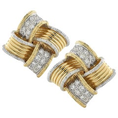 1980s Vintage Two-Tone Diamond Stud Earrings