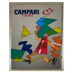 1980s Vintage Wall Mirror Advertising Campari Soda Sì Made in Italy