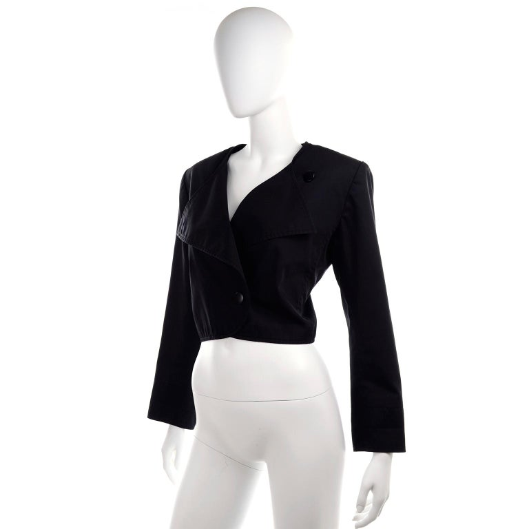 1980s Vintage Yves Saint Laurent Ysl Black Cotton Short
