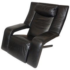 1980s Vitelli & Ammanati for Brunati Vintage Black Leather Reclining Armchair