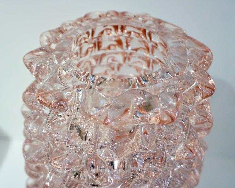 1980s Vivarini Italian Large Vintage Pink Rostrato Spike Murano Glass Ovoid Vase For Sale 3