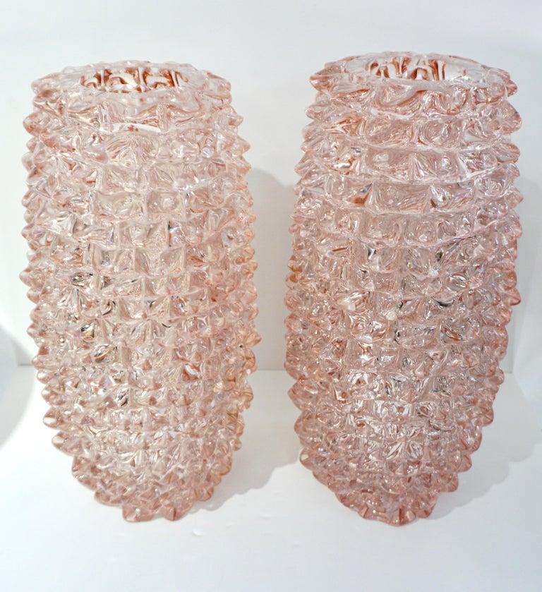 1980s Vivarini Italian Large Vintage Pink Rostrato Spike Murano Glass Ovoid Vase For Sale 7