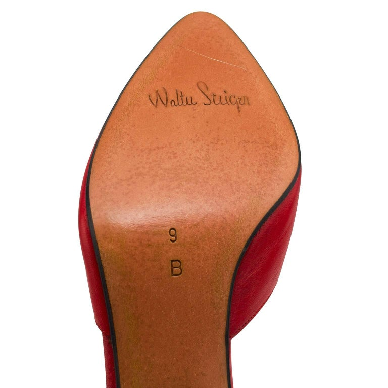 1980s Walter Steiger Red Leather D'Orsay Pumps For Sale 3