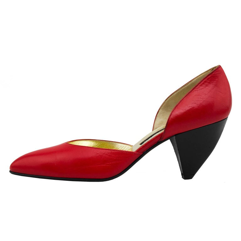 1980s Walter Steiger Red Leather D'Orsay Pumps