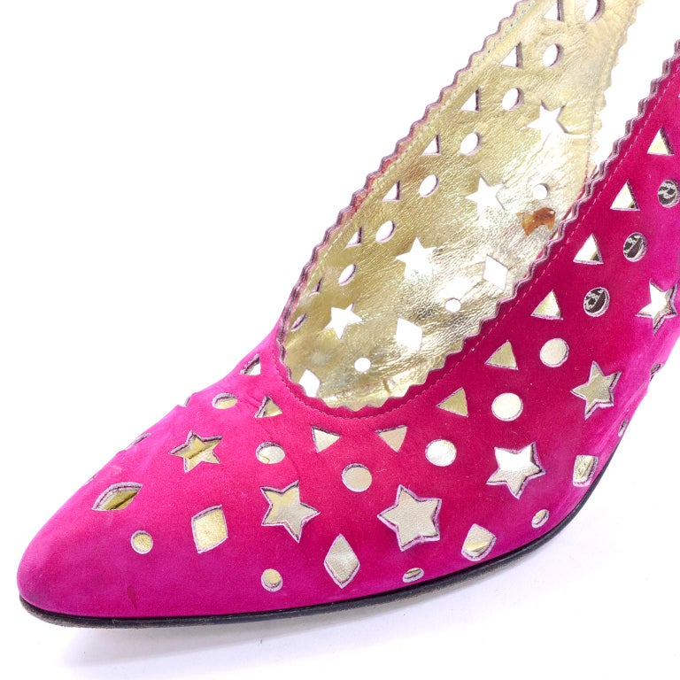 1980s Walter Steiger Slingback Pink Suede Shoes W/ Cut Out Stars & Shapes 7AA For Sale 1