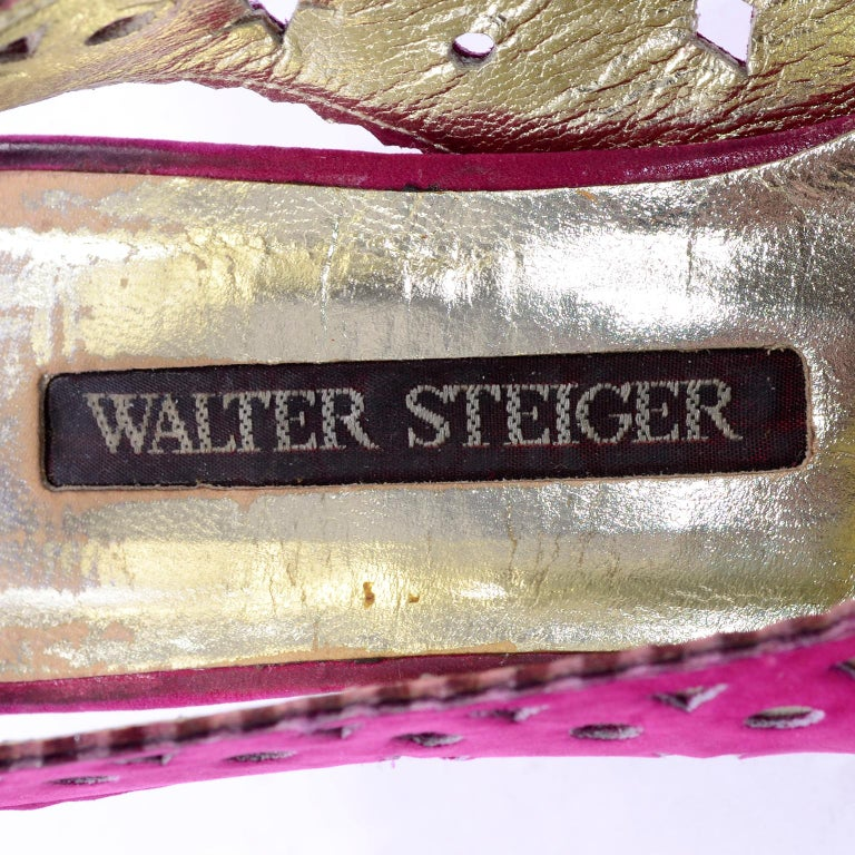 1980s Walter Steiger Slingback Pink Suede Shoes W/ Cut Out Stars & Shapes 7AA For Sale 5