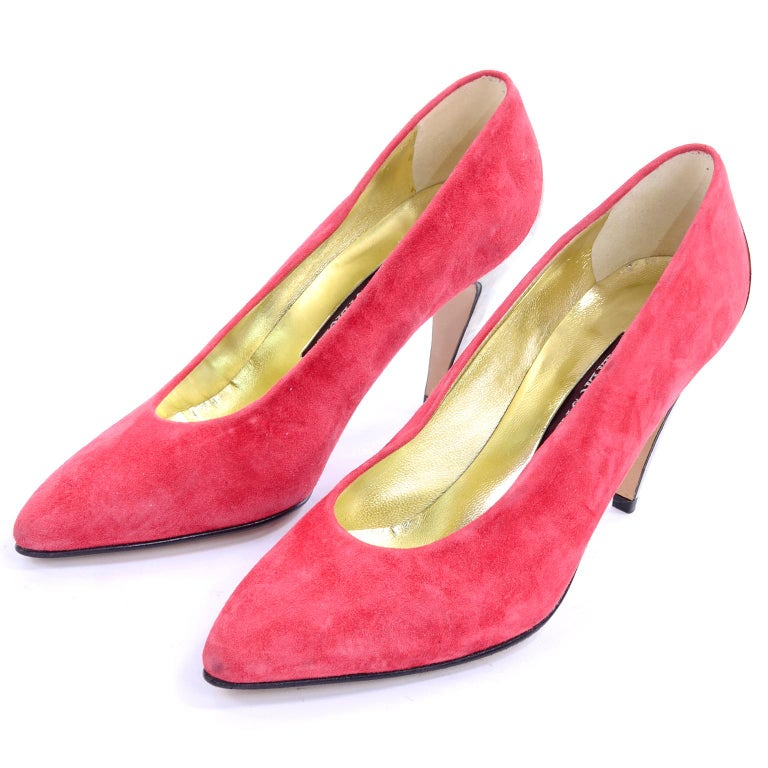1980s Walter Steiger Vintage Salmon Pink Suede Shoes W Mirrored Silver Heels 7AA In Excellent Condition For Sale In Portland, OR