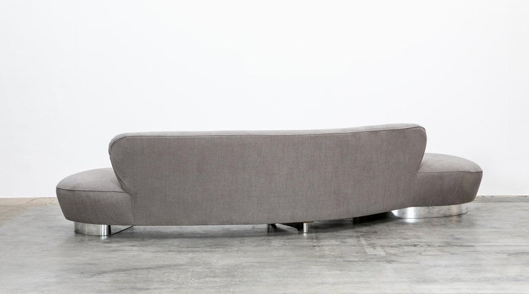 Late 20th Century 1980s Warm Grey, New Upholstery Sofa by Vladimir Kagan For Sale