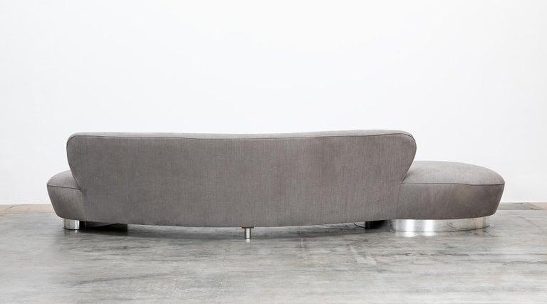 1980s Warm Grey, New Upholstery Sofa by Vladimir Kagan For Sale 1