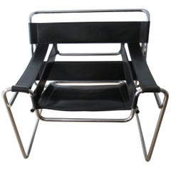 1980s Wassily B3 Leather and Chrome Chair Marcel Breuer for Knoll