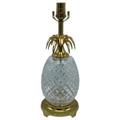 1980s Waterford Crystal and Brass Pineapple Lamp