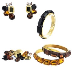 1980s Wendy Gell Yellow, Brown, and Black Bangles, Earrings, Brooch Jewelry Set