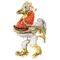 1980s Whimsical Mediterranean Coral Diamond Ruby Emerald Rooster Pendant Brooch