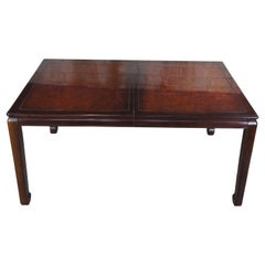 1980s White Furniture Mahogany & Burl Mandarin Ming Dining Table Chinoiserie