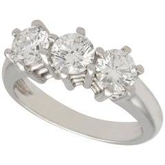 1980s White Gold 1.18 Carat Diamond Three-Stone Trilogy Ring