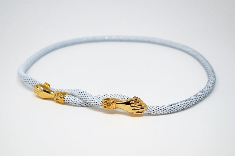 1980s White Mesh Belt or Necklace with Gold Hands by DL Auld Co, Signed For Sale 5