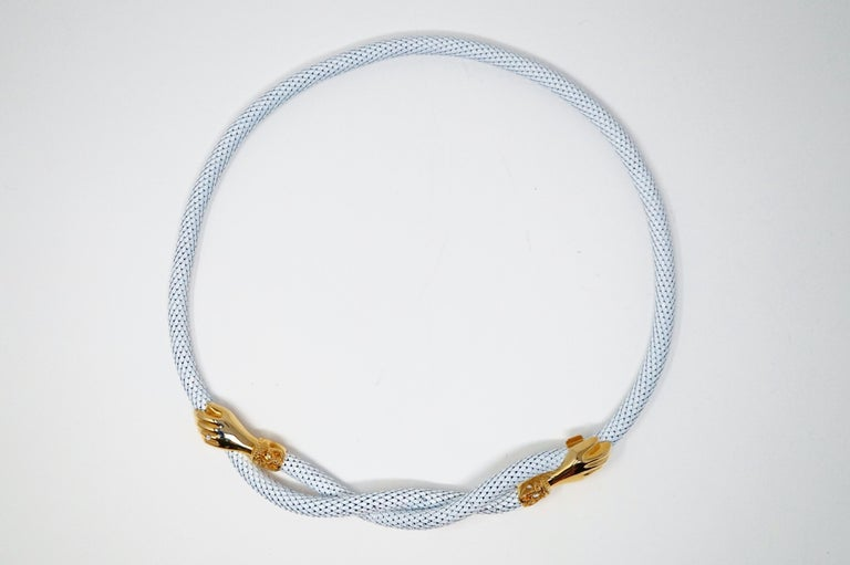 1980s White Mesh Belt or Necklace with Gold Hands by DL Auld Co, Signed For Sale 6