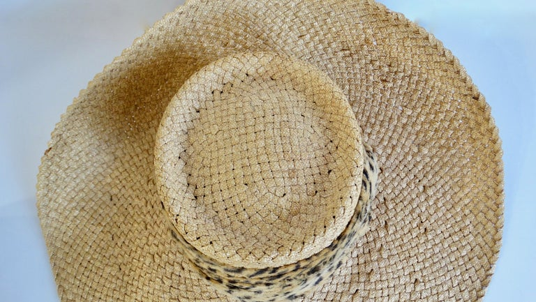 1980s Whittall & Shon Asymmetrical Wide Brim Straw Hat In Good Condition For Sale In Scottsdale, AZ